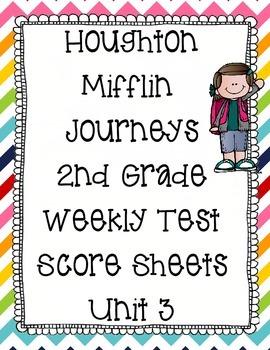 Houghton Mifflin Journeys 2nd Grade Weekly Test Scoresheet