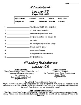 Journeys - HMH © 2011/2012 Grade 4 Lesson 23 Study Sheet