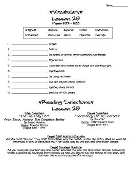 Journeys - HMH © 2011/2012 Grade 4 Lesson 25 Study Sheet