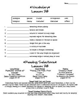 Journeys - HMH © 2011/2012 Grade 4 Lesson 28 Study Sheet