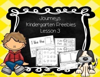 Journeys Lesson 3 Kindergarten Freebies