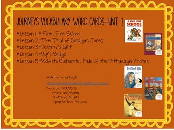 Houghton Mifflin-Journeys-Unit 1-Vocabulary Cards