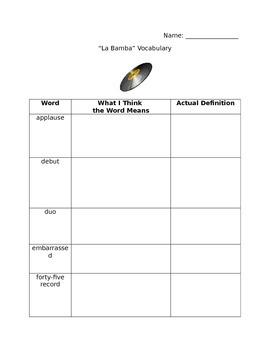 Houghton Mifflin La Bamba Vocabulary Practice
