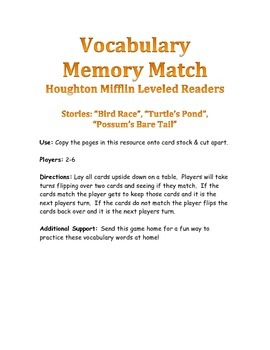 Houghton Mifflin Leveled Readers Vocabulary Match: The Gre