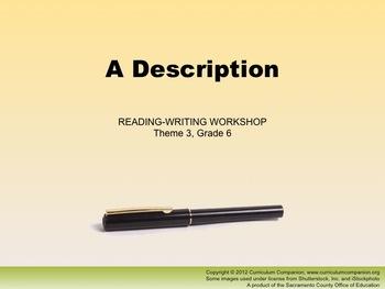 Houghton Mifflin Reading Gr 6 Writing: A Description Commo