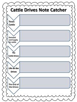 Houghton Mifflin Social Studies - 5 Cattle Drives Note Catcher