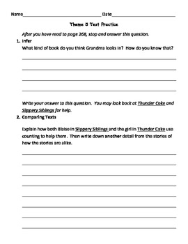 Houghton Mifflin Theme 5 Practice: Slippery Siblings and T