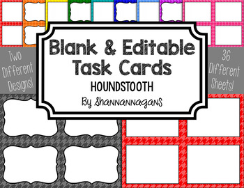 Houndstooth Blank Task Cards (Basic Colors)