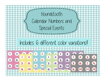 Houndstooth Calendar Numbers and Special Event Days 6 Vari