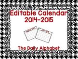 Houndstooth Editable Calendar 2014-2015
