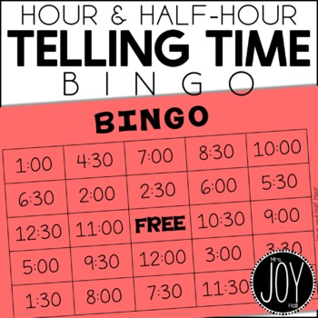 Hour and Half Hour BINGO with 1 Hour and 1/2 Hour Elapsed