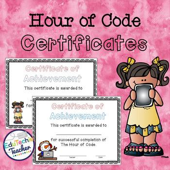 Hour of Code Certificates