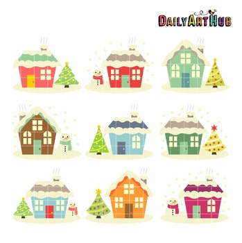 House Christmas Clip Art - Great for Art Class Projects!