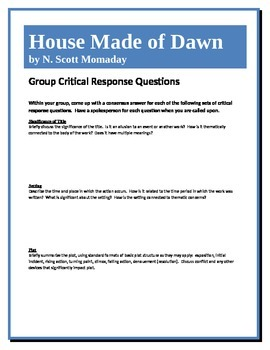 House Made of Dawn - Momaday - Group Critical Response Questions