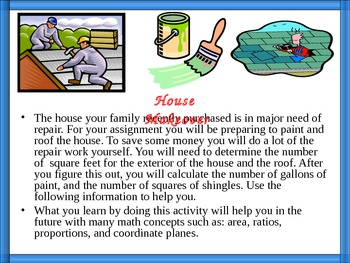 House Makeover, Area, Ratios, Proportions, Student Handout