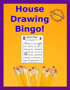 House Vocabulary Drawing Bingo for ESOL and ESL