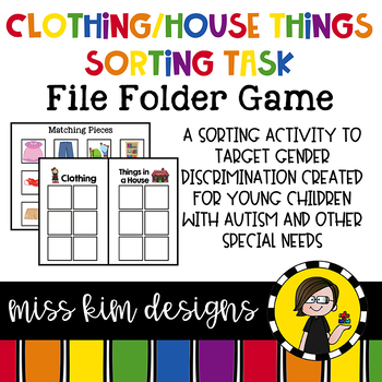 House and Clothing Sorting File Folder Game for students w
