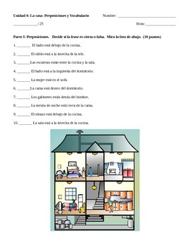 House and Prepositions Quiz