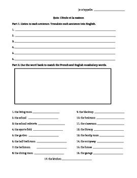 French House and School Vocabulary Quiz