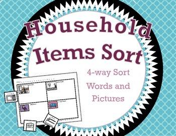 Household Items Sort / 4-way Cut and Paste Sort / Words Su