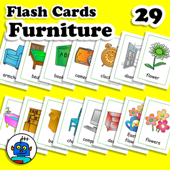 ESL Furniture Flash Cards. Flowers, outside, armchair, TV,