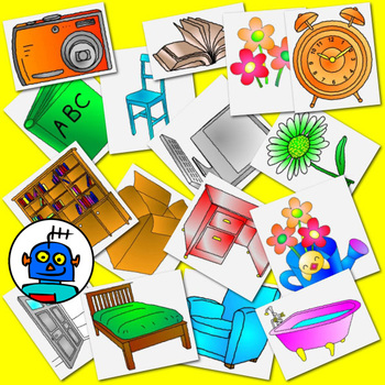 Clip Art for Furniture - Color and b/w png files.