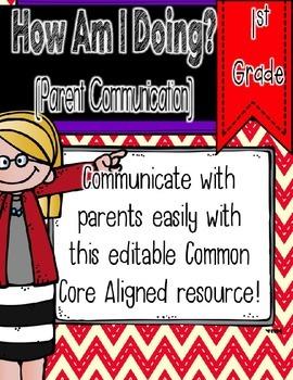 How Am I Doing? - First Grade Editable Communication