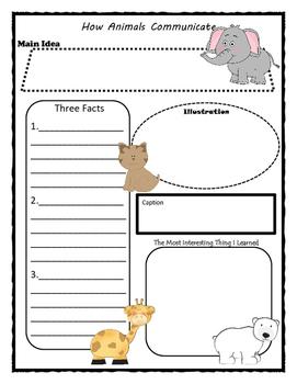 How Animals Communicate Story Map - Graphic Organizer