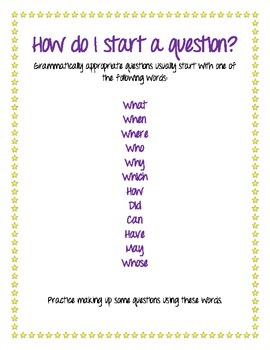How Do I Ask A Question? A List of Question-Starting Words.