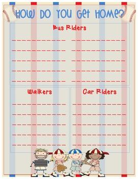 """How Do You Get Home?"" Transportation Chart - Baseball Themed"