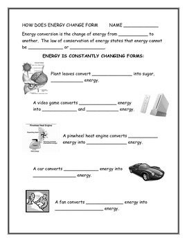 How Does Energy Change Form - Energy Conversions Note-taki
