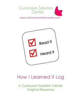 How I Learned it Log {Metacognition, Tracking, Goal Settin