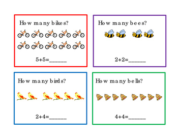How Many Addition 12 Task Cards Numbers Up to 10 Kindergar