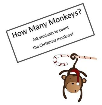 How Many Christmas Monkeys?  Count the Monkeys!