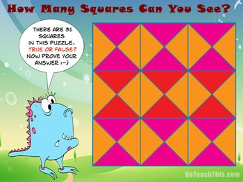 'Problem Solving' - How Many Squares Are Here? Excellent P