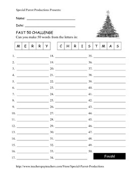 Merry Christmas FREE - How Many Words Can You Make?