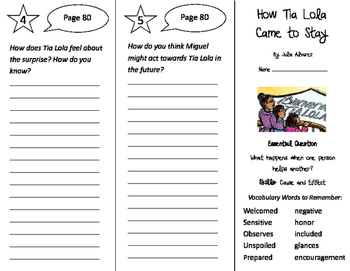 How Tia Lola Came To Stay Trifold - Journeys 4th Grade Uni