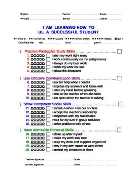 Successful Behavior Report Card