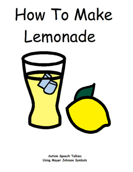 How To Make Lemonade Social Story and  Adapted Book (recip