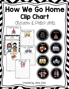 How We Go Home Clip Chart & Forms (Black/White Chevron & P