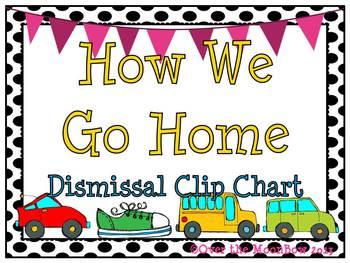 How We Go Home Dismissal Clip Chart – Black Polka Dots