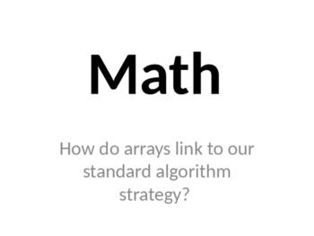 How do arrays link to the multiplication standard algorith