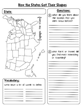 How the States Got Their Shapes Worksheet