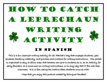 St. Patty's Day Spanish Writing Activity-How to Catch a Le