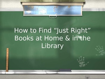 How to Choose Just Right Books PowerPoint