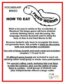 How to Eat Fried Worms Vocabulary Bingo