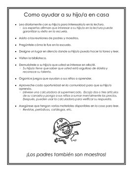 How to Help Your Child at Home - Open House Handout (Bilingual)