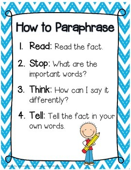 How to Paraphrase Anchor Chart