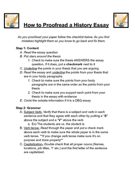 How to Proofread a History Essay