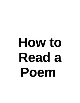 How to Read a Poem (Common Core Fluency Related)
